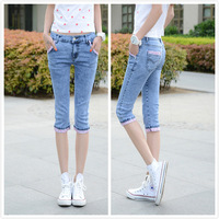 2014 slim denim capris female capris pencil pants female