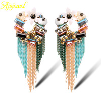 2014 new arrival handemade luxury austrian crystal beads bohemian style big colorful fashion earrings long tassels for women