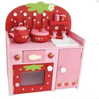 Mother garden strawberry wooden child stove gas cooktop educational toys kitchen pretend play toy green red Free fedex