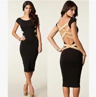2014 New Fashion women Spring And Summer European sexy backless cross straps Slim Women's Dress XB13-8675