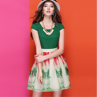 New 2014 European US Women's Dresses Chiffon Short Sleeve Printed Ruffles Helm Patchwork Dress Tunic Plus Size Free Shipping