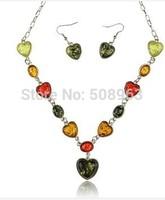 Women Luxury Amber Statement Charm Chain Bib Collar Necklace Pendant Earrings Jewelry Sets Free Shipping