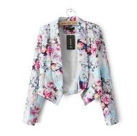 Chaquetas Mujer Jacket Blazer Women Suit Foldable:2014 New Printed For Ladies Blazers Sleeve Outerwear,blaser Feminino Retail