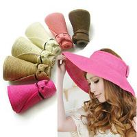 Women Beach sun visor cap straw hat woman summer sun  hat free shipping