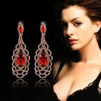 Luxury Long Dangle Earrings 2014 Created Gemstone For Women Wedding Big Crystal Red Hollow Gold Vintage Earring Brinco Grandes