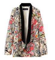 Cardigans Real Women Blazer Jacket Spell Color Flower Print Loose Outerwear Ladies Boyfriend Cardigan Jackets Women's Coats 2014