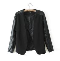 Blaser Feminino Retail Women Regular Full Jackets And Blazers Pu Leather Blazer Outerwear Womens 2014 New Feminino Coat Hot Sale