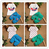New Summer Boys Clothing Sets Cartoon Tops&tees 2PCS Cloth Set infant Short sleeve Short Sleeve Cloth Suit T shirt + Pants