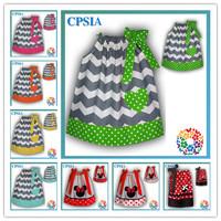 Latest Design Baby Chevron Cotton Pillowcase Dress Wholesale Green Dots Heart Summer Girls Dresses 24pcs/lot