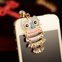Luxury dripping peach blossom Eye Owl Dust Plug For mobile phone dustproof plug Mobile Phone Accessories B117