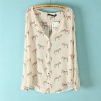 Woman Fashion Color Zebra PrintsTurn-down Collar Long Sleeves Blouse Ladies ShirtsCHXL0023