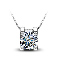 New Fashion White Cubic Zirconia Diamond Pendant Necklace 925 Sterling Silver Chain Women's Charm Jewelry Free Shipping (CN026)