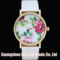2014 New Fashion GENEVA Vintage Rose Flower Watch Women Leather Quartz Dress Watches Casual Ladies Gold Rhinestone Wristwatches