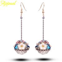 2014 dress accessories high quality women jewelry handmade luxury bohemian austrian crystal flower long earrings for women