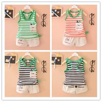 Hot sale Summer Cat Cartoon Boy Baby Clothing Set Infant Striped Sleeveless Cloth suit 2pcs Tank Top T shirt + Short Pants Boys