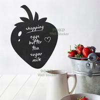 Strawberry chalkboard wall sticker, Vinyl waterpoof  Removable chalkboard,Free Shipping