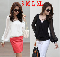 FREE SHIPPING Women chiffon long-sleeve collar Shirts 2014 fashion womans blouses top sale S M L XL