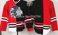 2014 Mens Split Jerseys Chicago Blackhawks Blank Red Black skeleton head Jersey Cheap Best Quality Stitched logos Free shipping