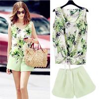 New Summer 2014 Women  Chiffon Sleeveless O Collar Print Dress