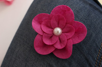 Felt Flower clips Hair Flowers Pearl Flower clip ,Baby girl children hair accessories 7.5cm 200pcs