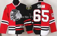 Wholesale 2014 New Chicago Blackhawks 65 Shaw Skeleton Head Split Hockey Jersey Cheap Best Quality Stitched logos Free shipping
