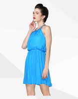 Free shipping 2014 New Hot 100% silk halter European style fashion sleeveless A-Line dress wholesale and retail