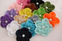 Felt Flowers Hair Flowers Pearl Flower,Baby girl children hair accessories 7.5cm 500pcs