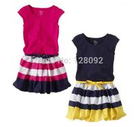 2014 New Summer Children Girls Party Dress Sleeveless Striped Summer Dress Baby Girls Princess Clothing Wholesale 5pcs/lot
