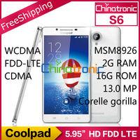 """Original Coolpad S6 9190L MSM8926 Quad Core 1.2G Dual-SIM 4G LTE/WCDMA/CDMA/GSM 5.95""""HD IPS 2G RAM+16G ROM 13.0MP NFC In Stock"""