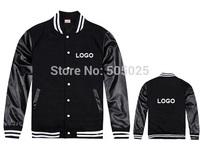 Free drop shipping Men's plus thick velvet leather long-sleeved Varsity jackets baseball coat cardigan Sweatshirts Customer Logo