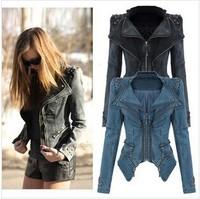 Explosion models New 2014 Slim Denim jackets Women Coat Rivet Vintage Mandarin Collar False 2 pieces Women's coat  jacket