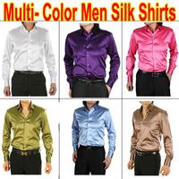 Free Shipping Multi-Color Mens Fashion Soft Silk Designer Slim Fit Dress Man Long Shirts Tops Western Casual S M L XL XXL XXXL