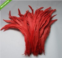 Free shipping Wholesale 100pcs a lot 12-14inches/30-35cm Red Dyeing Loose Rooster Tail Feathers Trims For Dress/Hats FF-M-1