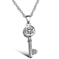 Platinum Plated Copper Cubic Zirconia Key Pendant Womens Necklaces For Girls Cute Fashion Women Accessories