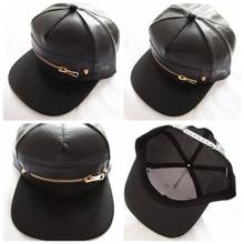 Free Shipping 2014 New Fashion Punk Hip Hop Women/Men Black PU Leather Snapback Caps Hats With Zipper(China (Mainland))