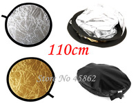 """New 43""""110cm 2 in1 Round Collapsible Flash Photo Studio Light Reflector+Free shipping"""