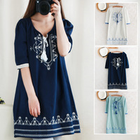 Fluid neckline lacing national embroidery crochet mori girl embroidery trend mesh loose plus size v-neck noveltys party dress