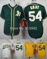 Oakland Athletics  #54 Sonny Gray 2014 Green White Yellow Stitched Baseball Jerseys Cheap