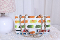 2014 Fashion Medium Canvas Flap Bag With Palette Print Colorful Paint Women's Chain Shoulder Bag Tote With Silver Hardware