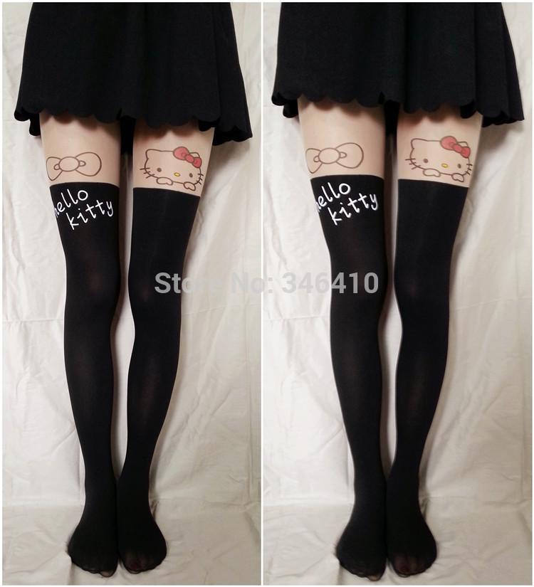 10pcs/lot Fashion Black White Cat Hello Kitty rabbits devil totoro Stockings Velvet High Pantyhose Sexy Tights(China (Mainland))