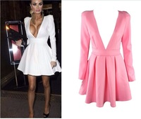 Women Summer Dress 2014 Sexy Vestido de Festa longo Puffy Long Sleeve V Pleated Winter Dresses Party roupas femininas White Pink