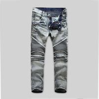 Vintage Classic Motorcycle Jeans Men Denim Boot Cut Pants Denim Trousers Skinny Men's Jeans  Free Shipping