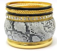 Luxury Leather Snake Multilayers Fashion Bracelet Set Mix Slim Black Enamel Rhinestone Bangle Fashion Wholesale Sexy Jewelry