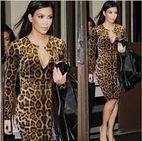2014 New Fashion Long Sleeve Knee-Length Leopard Dress Plus Size For Women Sexy Bodycon Dress Kim kardashian Celebrity Dresses