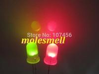 Free shipping 50pcs, 5mm Dual Bi Color Polar Changing Red/Green Led Diffused Leds 2-Pin led