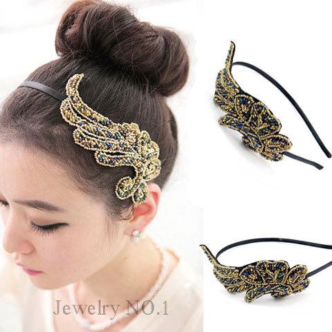 gioielli capelli headwear copricapo accessori per capelli piume di fenice abbagliare colore impianto di perle fascia dei capelli