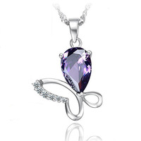 P090 925 sterling silver fashion jewelry chains necklace 925 sterling silver pendant Butterfly hanging heart pendant