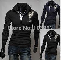 Plus size XXL Autumn men's Polo shirts  Floral embroidery  POLO Shirt  New Arrive Slim Pullover  Wholesale&Retail,white blue