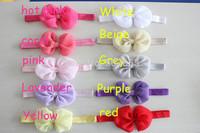 Chiffon hair flower headband bows headbands kids accessories gilrs headbands 20 colors 500pcs