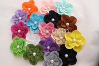 Felt Flower clips Hair Flowers Pearl Flower clip ,Baby girl children hair accessories 7.5cm 500pcs